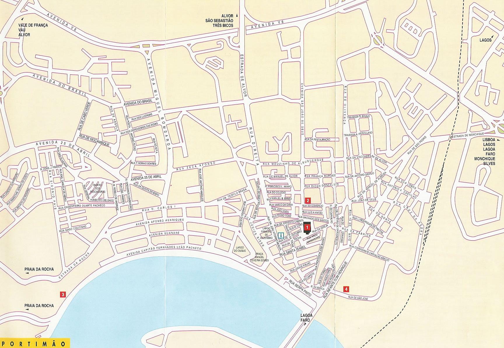 Portimao Portugal Tourist Map Portimao Mappery - Portugal map carvoeiro