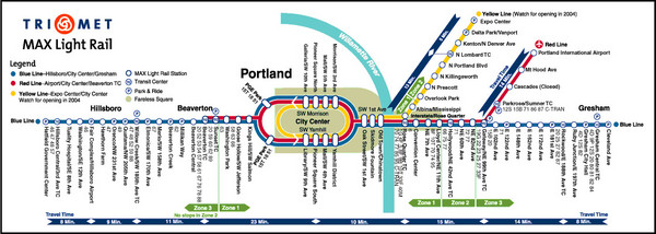 Portland MAX Light Rail Map Portland Oregon mappery – Portland Tourist Map