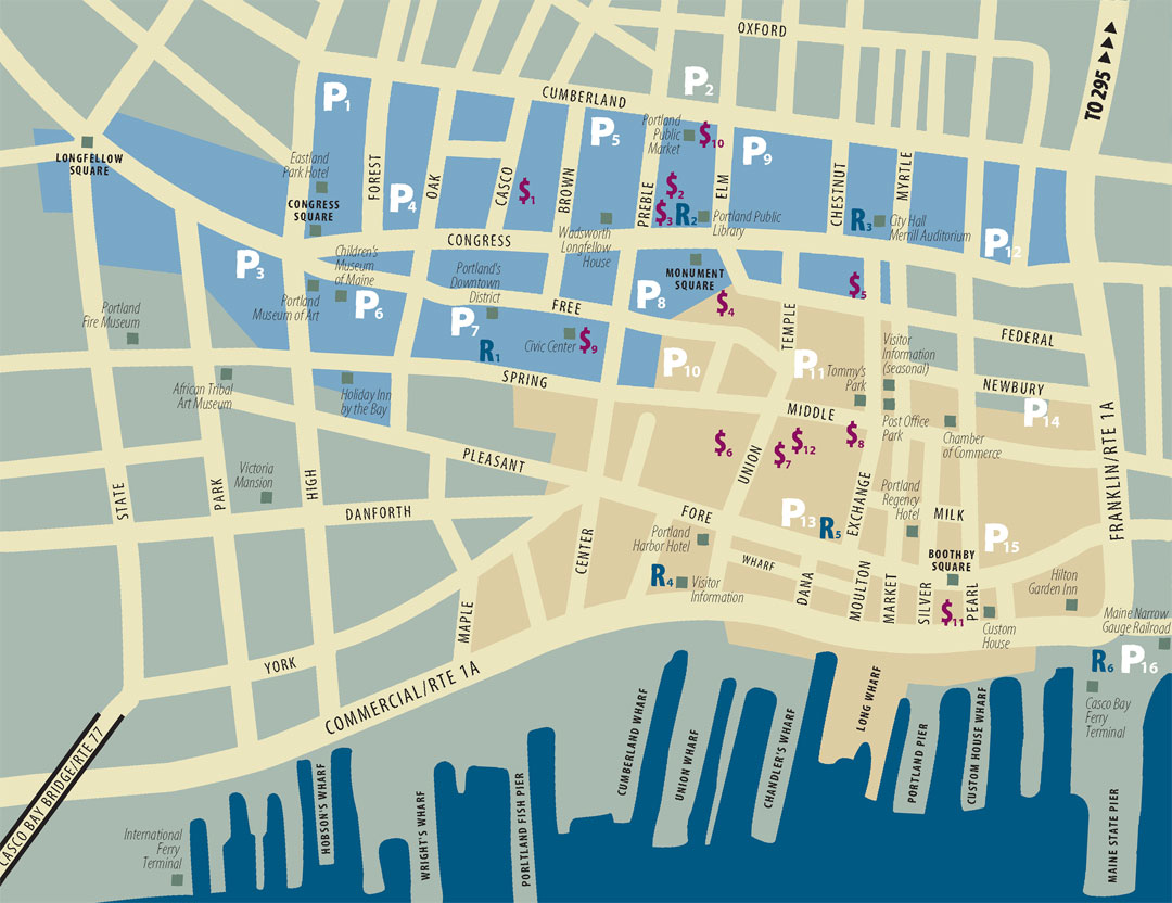Portland Maine Tourist Map  POrtland Maine  Mappery