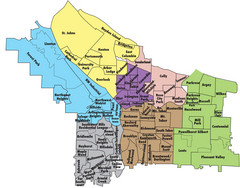 Portland, Oregon Neighborhood Map