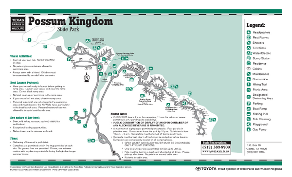 Possum Kingdom, Texas State Park Facility and Trail Map