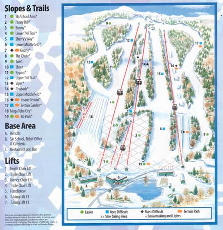 Powder Ridge Ski Area Ski Trail Map