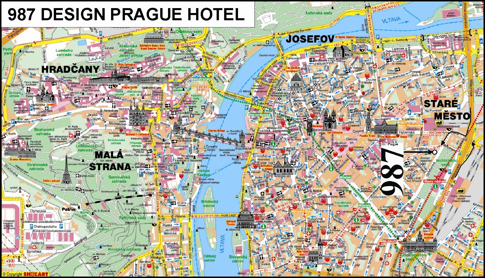 prague czech republic tourist map  prague • mappery -