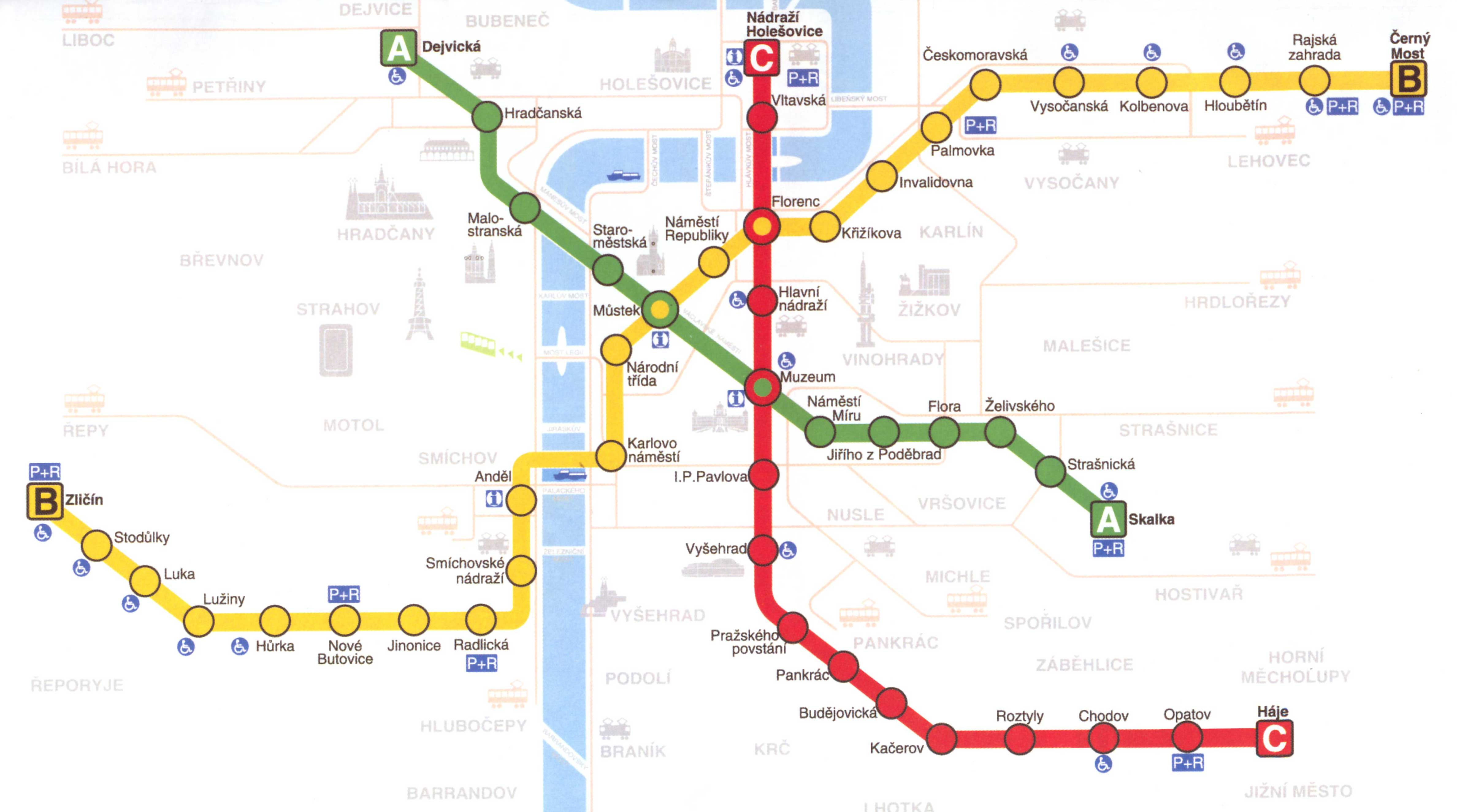 Prague downtown metro map see map details from prague info co uk