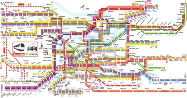 Большая подробная карта метро Праги.