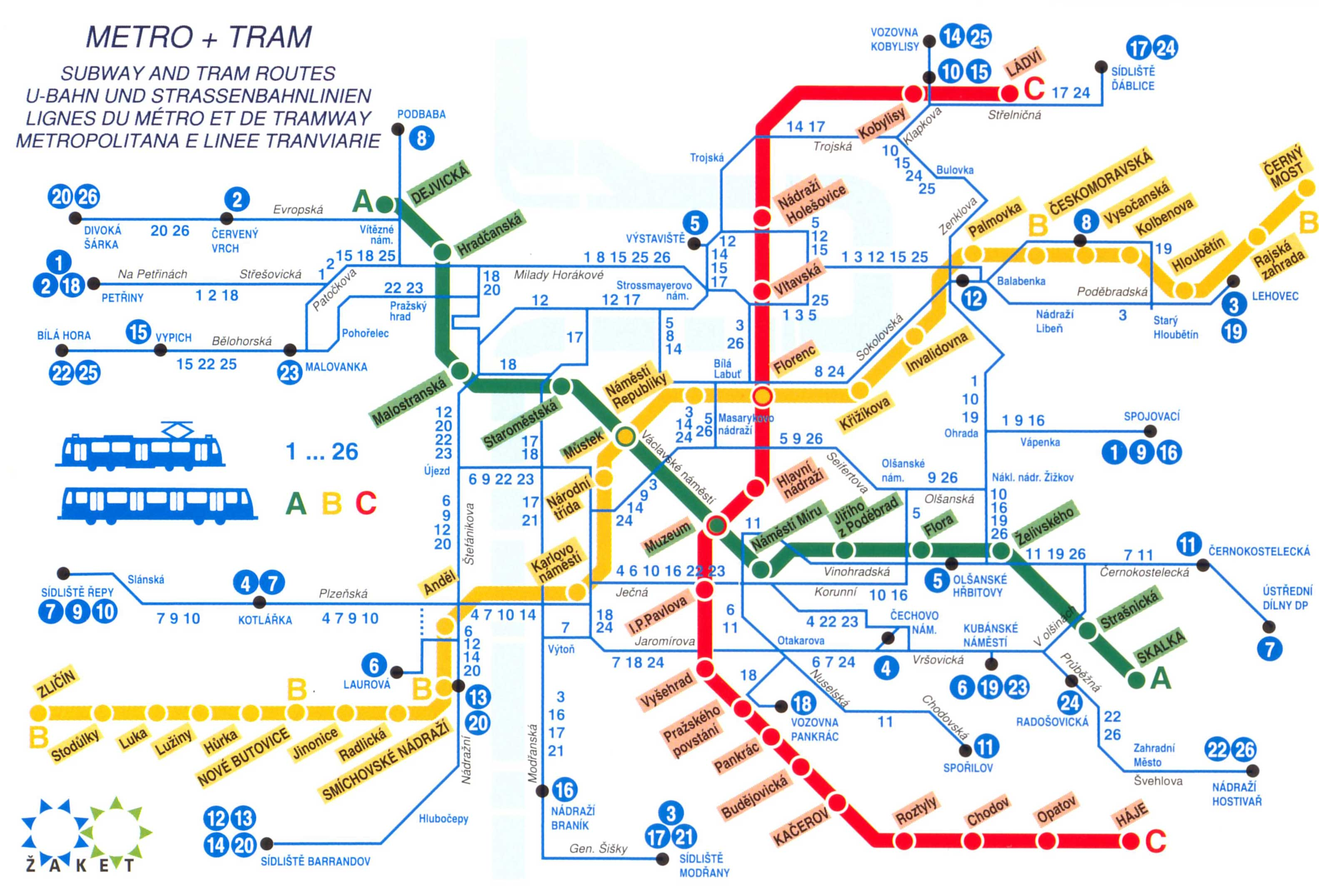Prague praha metro map see map details from prague info co uk