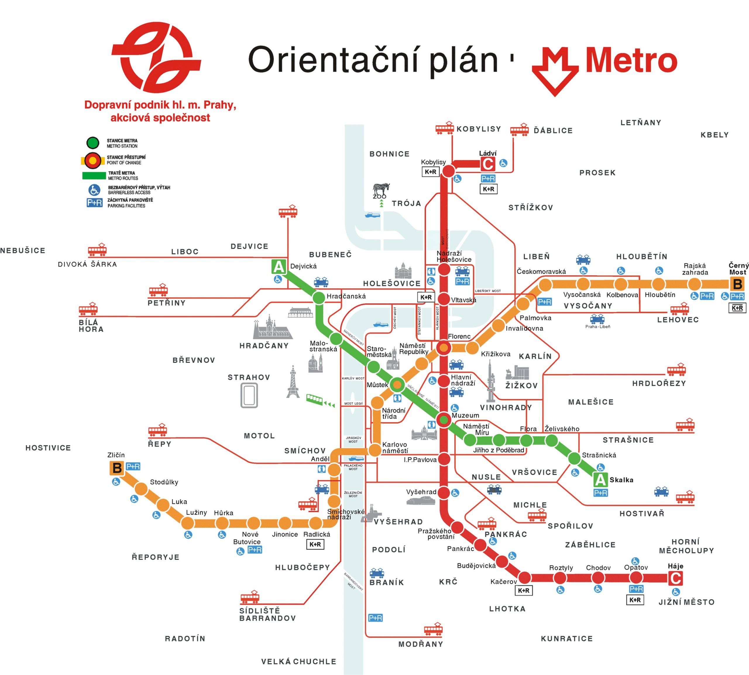 Prague Public Transport Map Prague Mappery