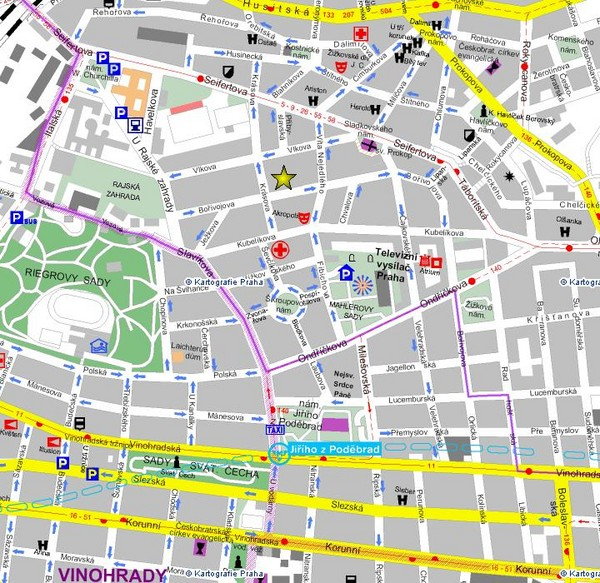 Praha Tourist Map Riegrovy Sady mappery – Tourist Map of Prague