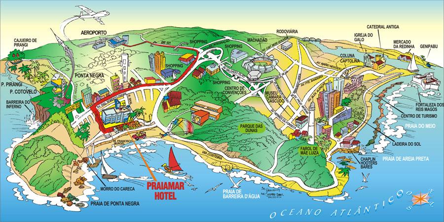 Praia De Ponta Negra Natal RN Map Natal Rn Mappery - Praia map