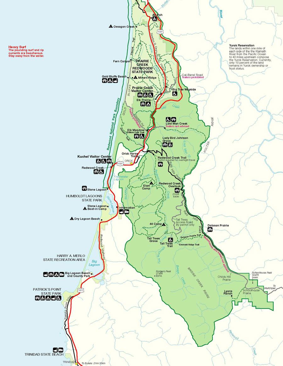 Orick California Map.Prairie Crek State Park Map Humboldt Lagoons State Park Mappery