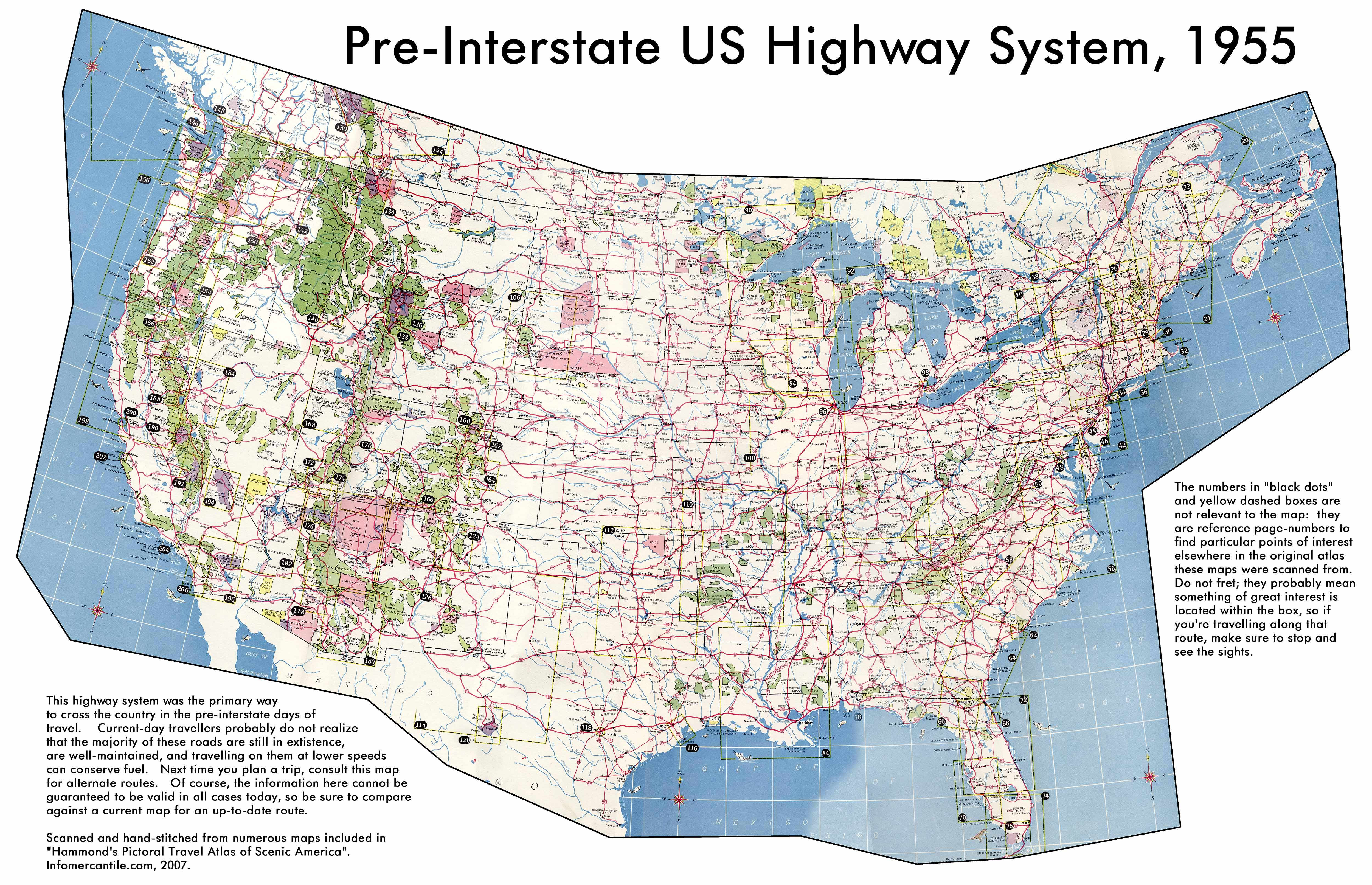PreInterstate US Highway System Map USA Mappery - Map of highways in us
