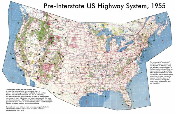 PreInterstate US Highway System Map USA Mappery - Us map with interstates