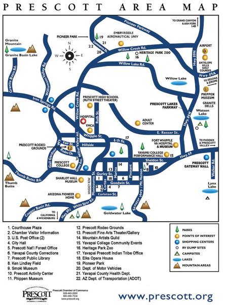 Prescott Area Map Prescott Arizona Mappery