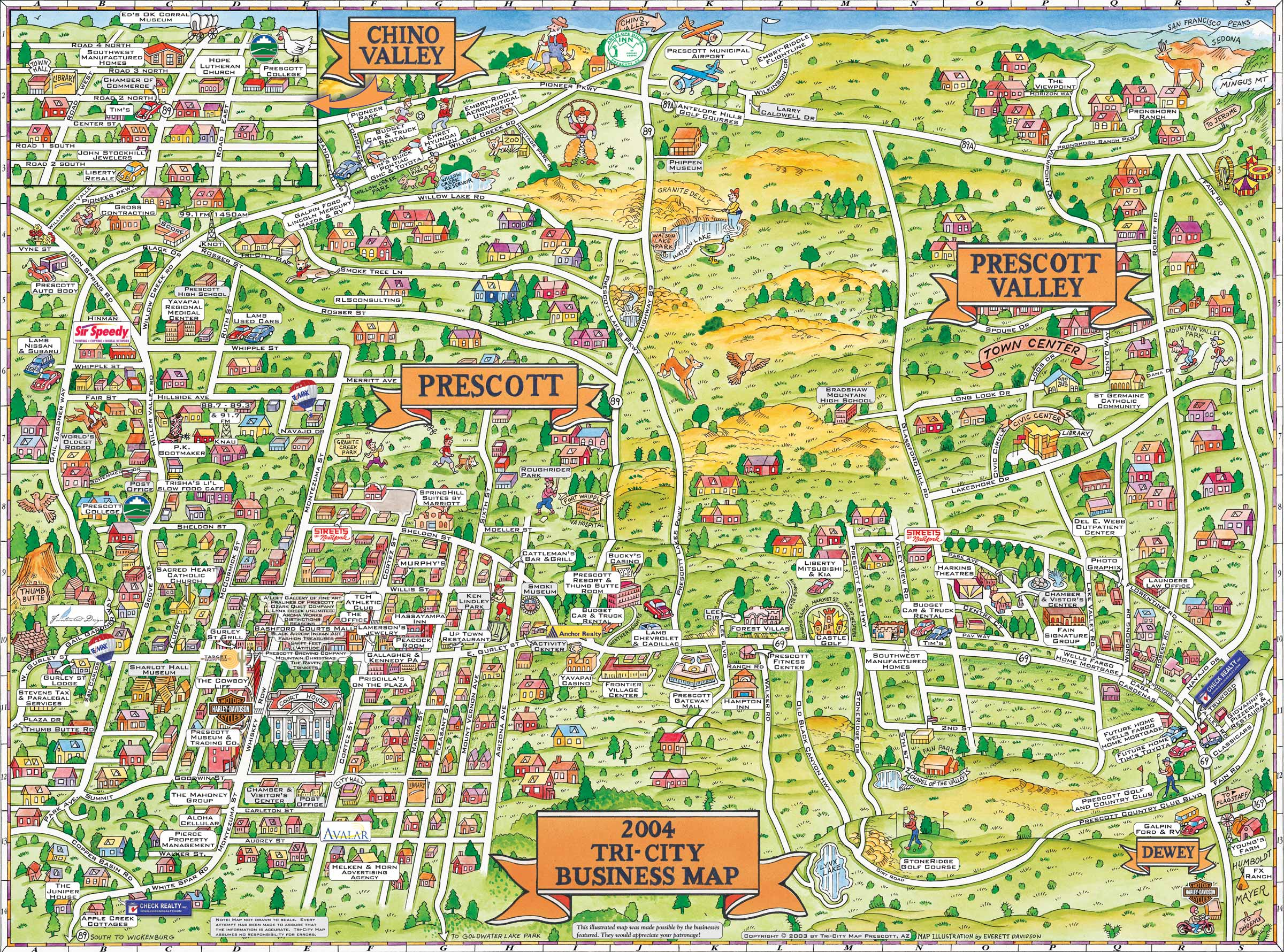 prescott prescott valley and chino valley tourist map  prescott  - prescott prescott valley and chino valley tourist map  prescott arizona •mappery