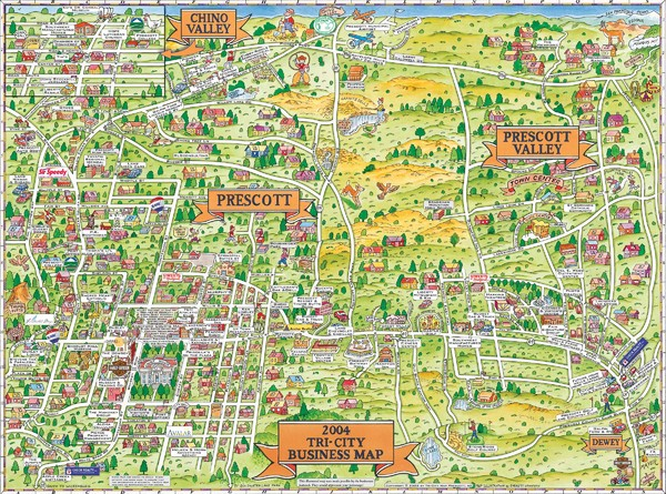 Prescott Prescott Valley and Chino Valley Tourist Map
