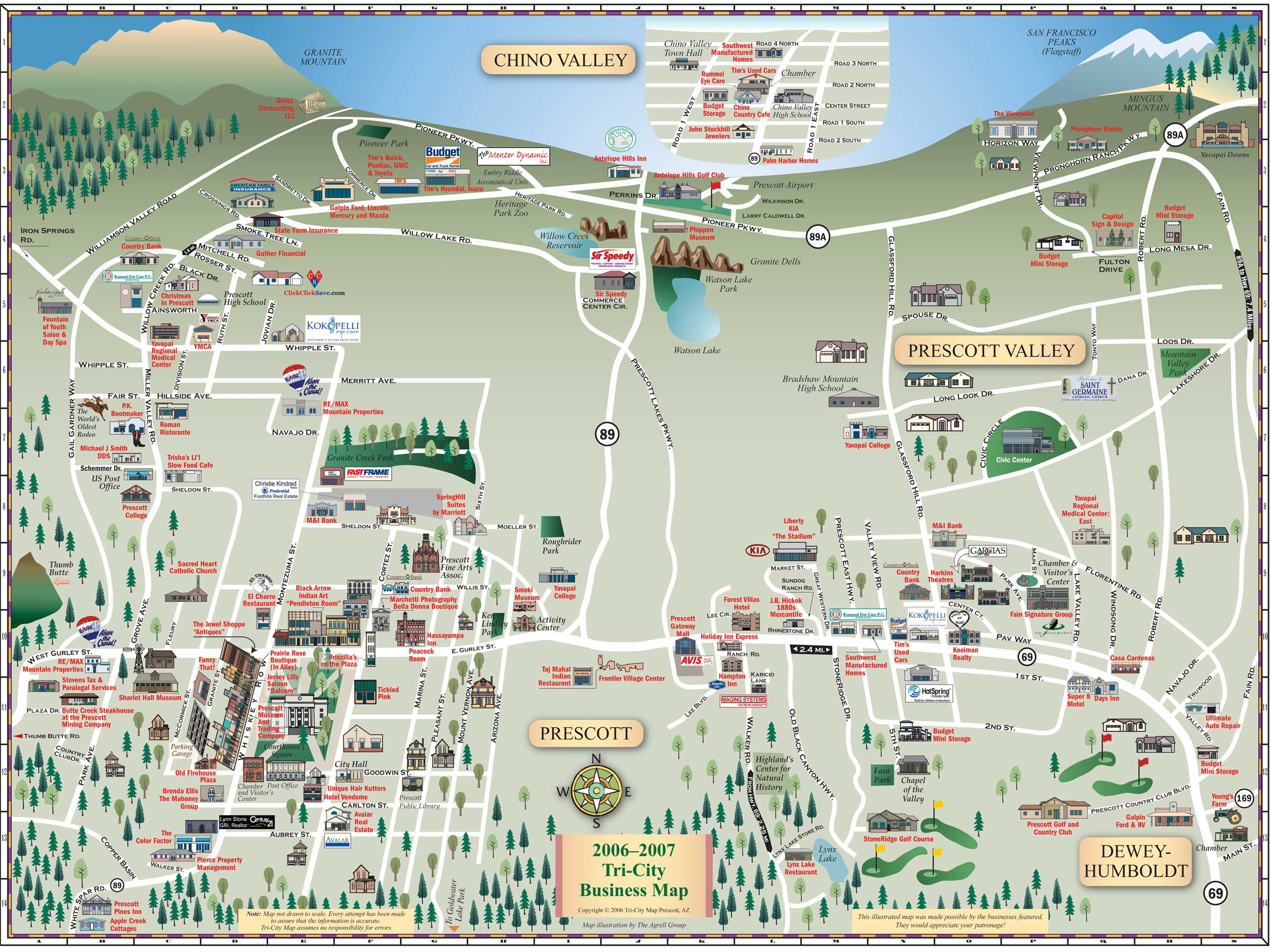 Prescott tourist map prescott arizona mappery – Tourist Map Of Arizona