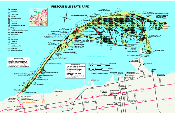 Presque Isle State Park Map Erie Pa 16505 2042 Mappery