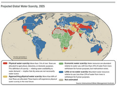 Projected Global Water Scarcity 2025 World Map