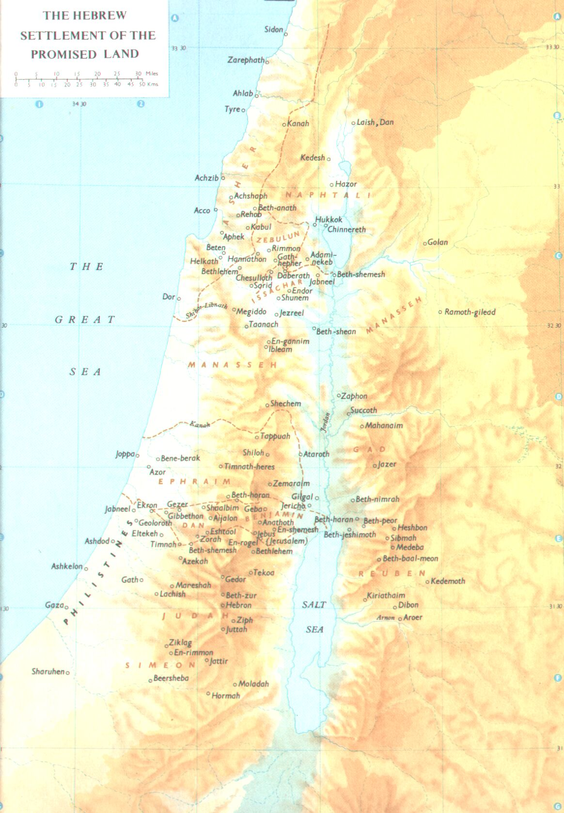 Promised land hebrew settlement map israel mappery sciox Gallery