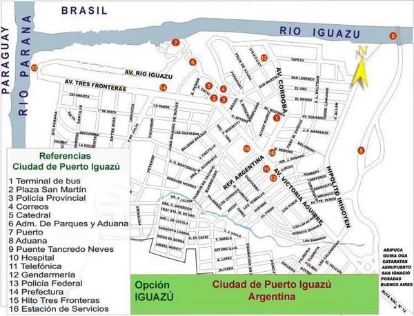 Puerto Iguazu Tourist Map Puerto Iguazu Argentina Mappery - Argentina bus map