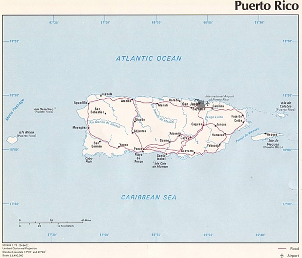 Tourist map for Puerto Rico showing major roads, cities and the airport.