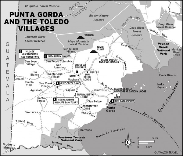 Punta Gorda and the Toledo villages Map
