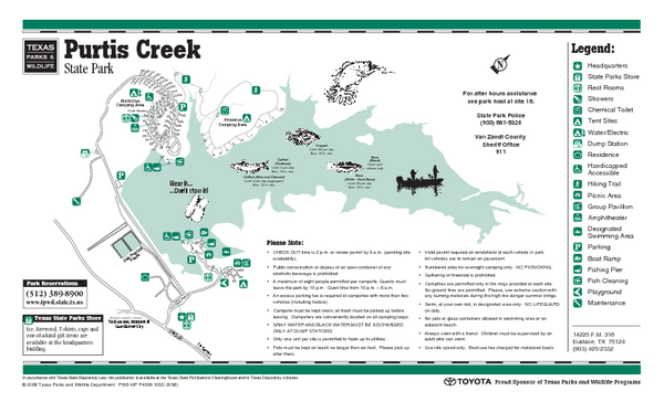 Purtis Creek Texas State Park Facility and Trail Map   Purtis
