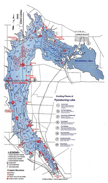 Pymatuning Lake State Park Fishing Map
