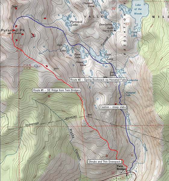 Pyramid Peak Ski Route Map