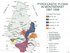 Pyroclastic flows in Montserrat 1997-1998 Map