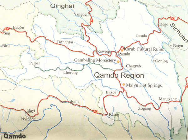 Qamdo Region Tourist Map