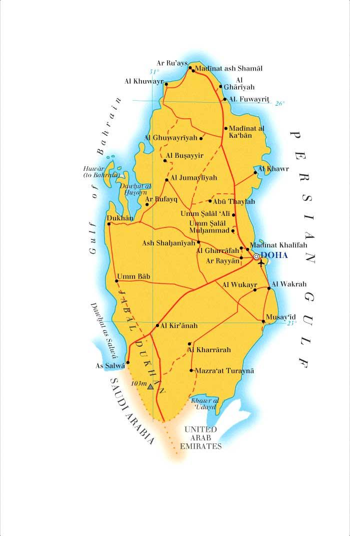 Qatar Map Mappery - Qatar map