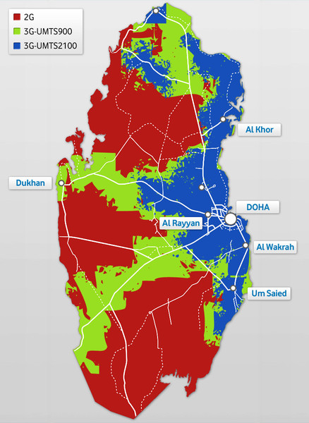 Qatar cell phone coverage Map • mappery on