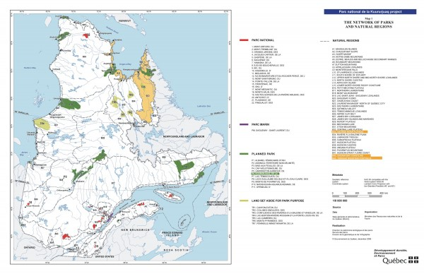 Quebec National Parks and Natural Regions - Existing and Planned Map
