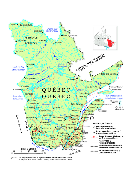 Quebec On Map Of Canada.Quebec Political Map Quebec Canada Mappery