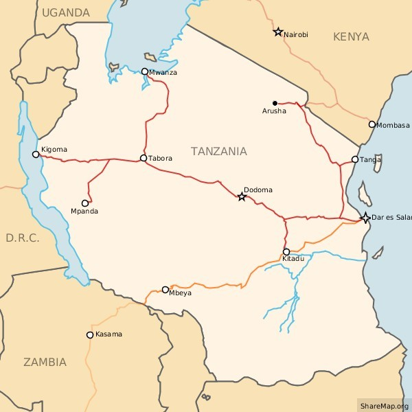 Railways in Tanzania Map Dar es Salaam mappery