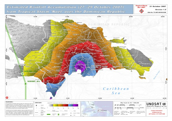 Rainfall Accumulation from Tropical Storm Noel over Dominican Republic Oct 27 -29 2007 Map