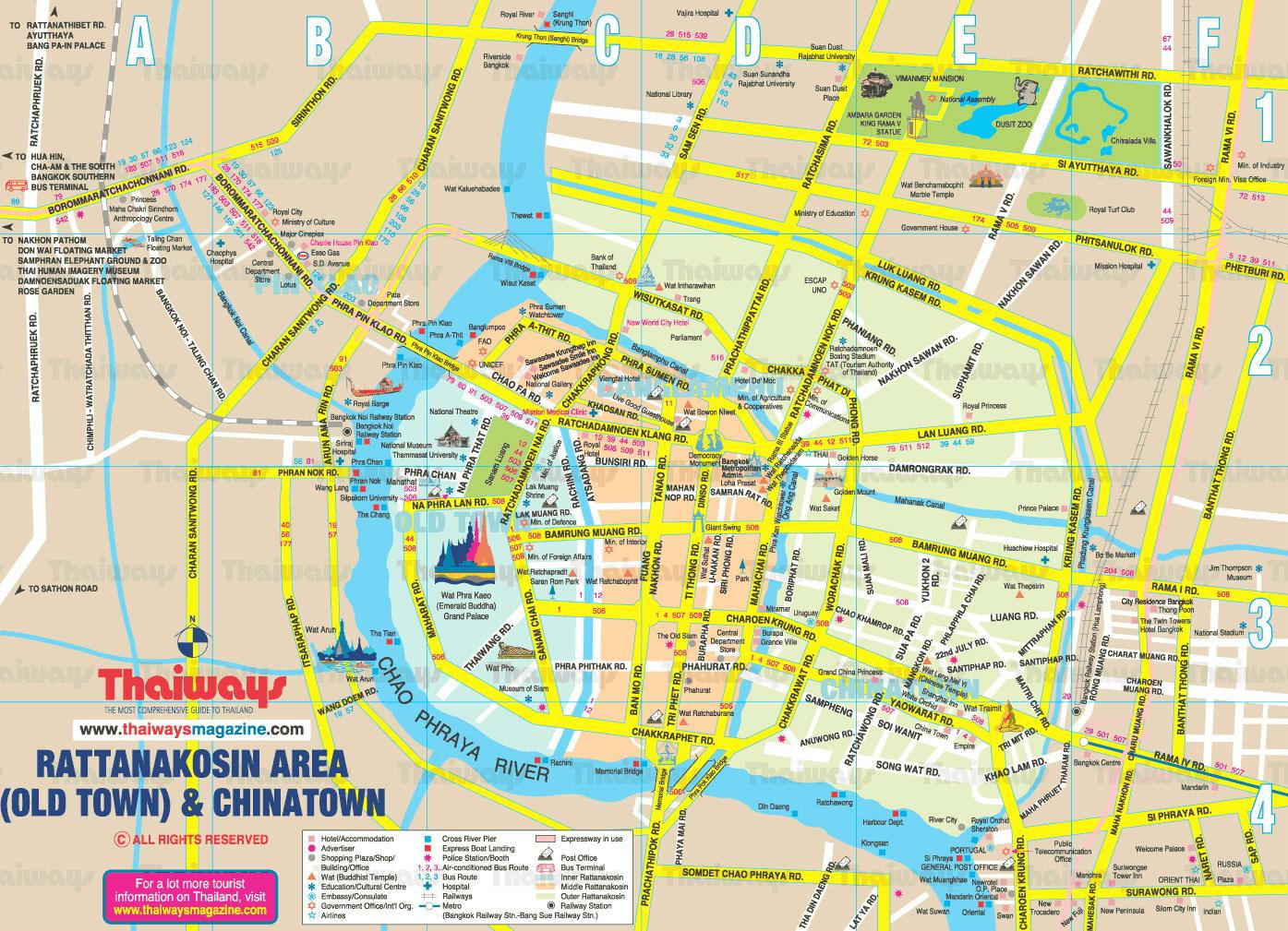 Rattanakosin Area Bangkok Thailand Map - Bangkok Thailand • mappery