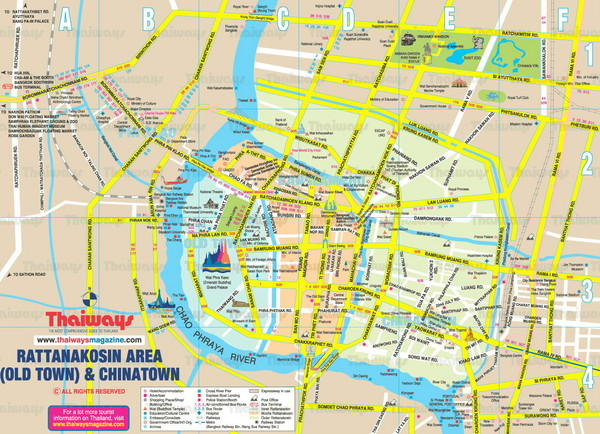 Rattanakosin Area, Bangkok, Thailand Map