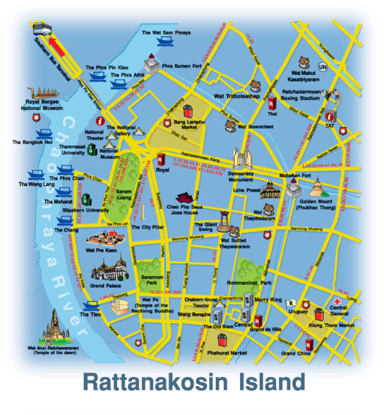 Location Map of Rattanakosin island Bangkok Thailand – Tourist Attractions Map In Thailand