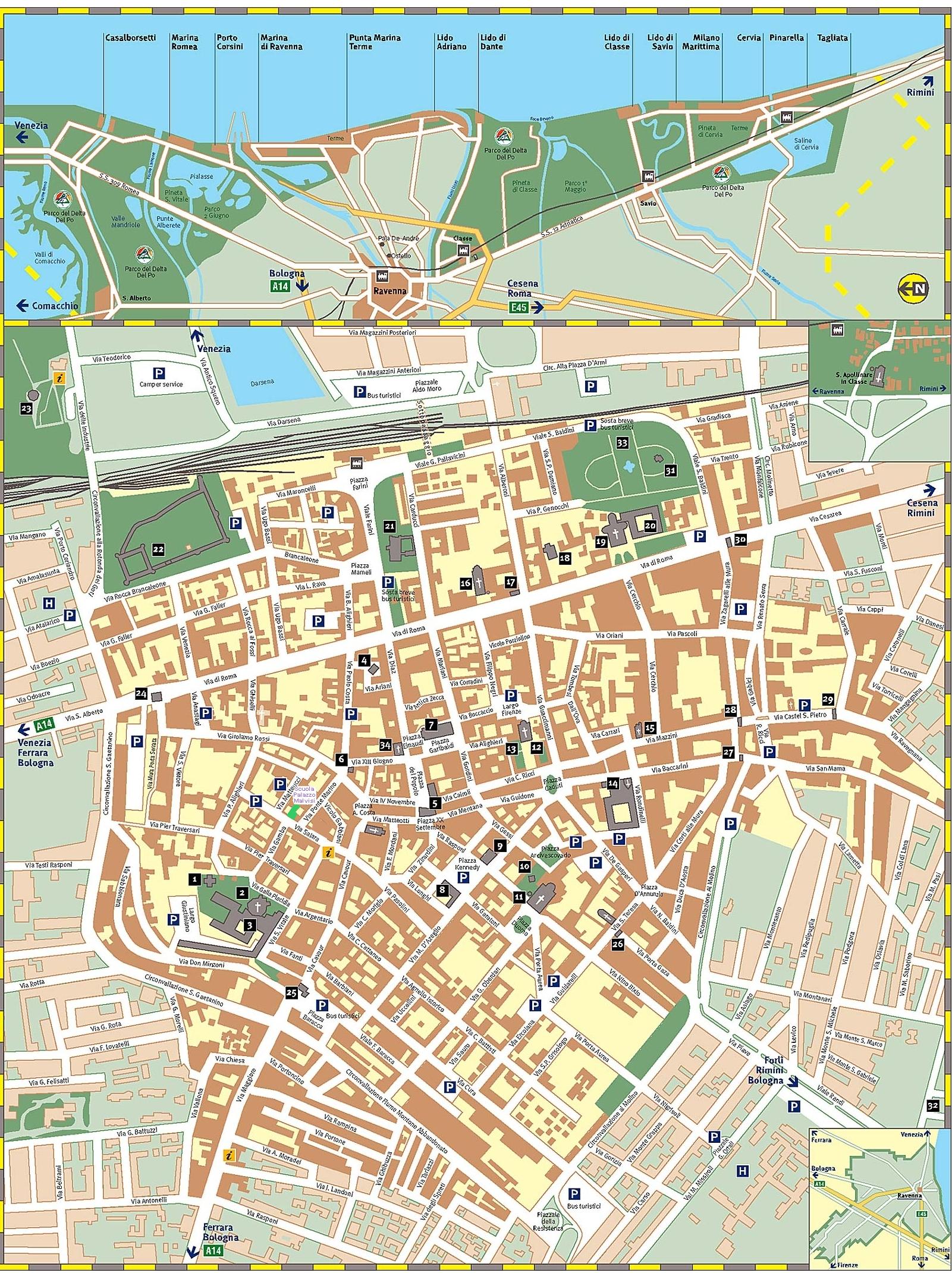Ravenna Street Map Ravenna Italy mappery