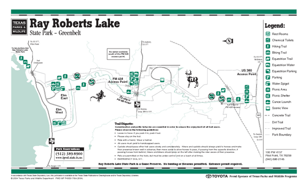 Ray Roberts-Greenbelt Corridor, Texas State Park Facility and Trail Map