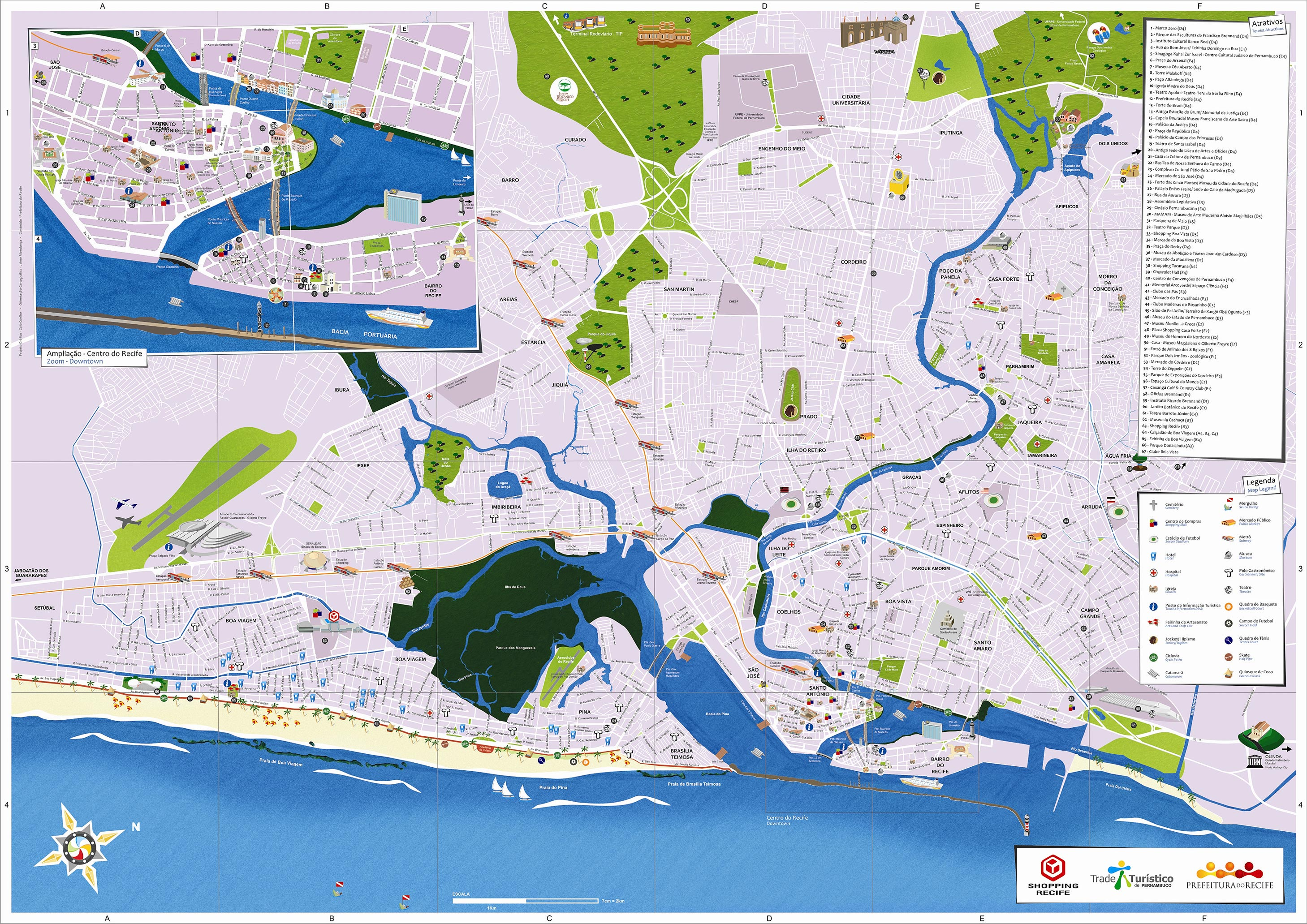 Recife Tourism Map Recife PE mappery