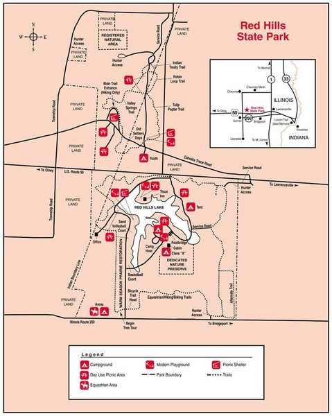 Red Hills, Illinois State Park Site Map