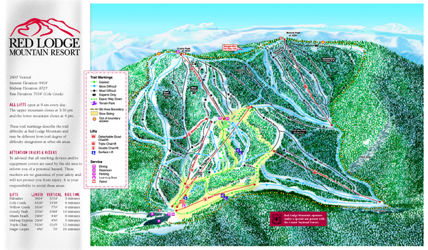 Red Lodge Mountain Ski Trail Map