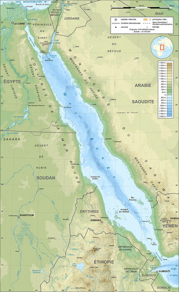 Red Sea Topography Map