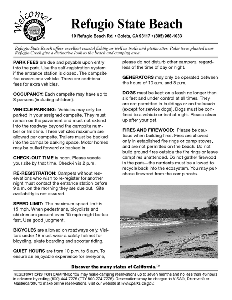 Refugio State Beach Campground Map