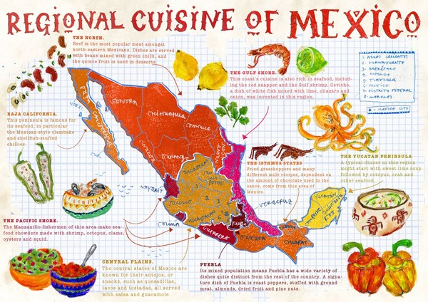 fullsize regional cuisine of mexico map