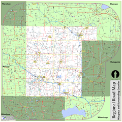 Regional Road Map of Waupaca County, Wisconsin