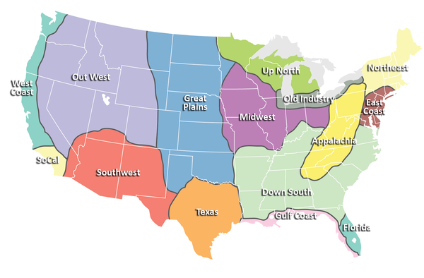 Map Of The United States By Regions.Regions Of United States Map United States Mappery